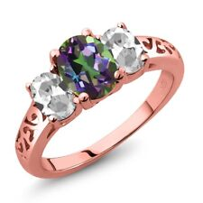 2.30 Ct Oval Green Mystic Topaz White Topaz 18K Rose Gold Plated Silver Ring