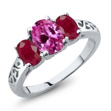 2.85 Ct Oval Pink Created Sapphire Red Ruby 14K White Gold Ring