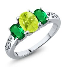 1.90 Ct Oval Yellow Lemon Quartz Green Simulated Emerald 18K White Gold Ring
