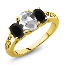 2.08 Ct Oval White Topaz Black Onyx 14K Yellow Gold Ring