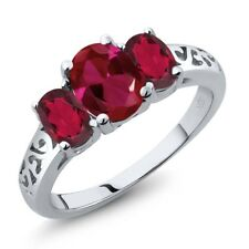 2.15 Ct Oval Red Created Red Mystic Topaz 925 Sterling Silver Ring