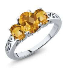 2.05 Ct Oval Checkerboard Yellow Citrine 925 Sterling Silver Ring