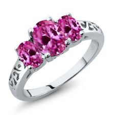 2.65 Ct Oval Pink Created Sapphire 925 Sterling Silver Ring