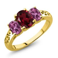 2.35 Ct Oval Red Rhodolite Garnet Pink Tourmaline 18K Yellow Gold Ring