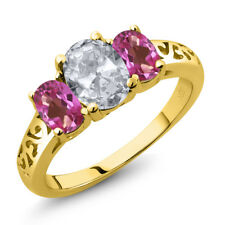 2.30 Ct Oval White Topaz Pink Mystic Topaz 18K Yellow Gold Plated Silver Ring