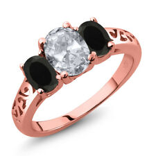 2.08 Ct Oval White Topaz Black Onyx 18K Rose Gold Plated Silver Ring
