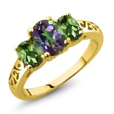 2.30 Ct Green Mystic Topaz Green Tourmaline 18K Yellow Gold Plated Silver Ring