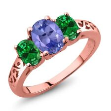 1.86 Ct Blue Tanzanite Green Simulated Emerald 18K Rose Gold Plated Silver Ring