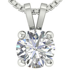 I1/G 1.00Ct Round Cut Diamond Jewelry 14Kt Solid Gold Solitaire Pendant Necklace