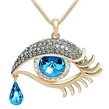 New Faceted Crystal Oval Tear Drop Bead Eye Shape Design Pendant Link Necklace