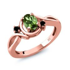 0.77 Ct Oval Green Tourmaline Black Diamond 18K Rose Gold Ring