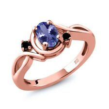 0.82 Ct Oval Blue Tanzanite Black Diamond 18K Rose Gold Plated Silver Ring