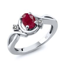 1.09 Ct Oval Red Ruby White Diamond 925 Sterling Silver Ring