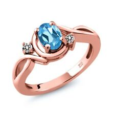 0.87 Ct Oval Swiss Blue Topaz White Diamond 18K Rose Gold Plated Silver Ring