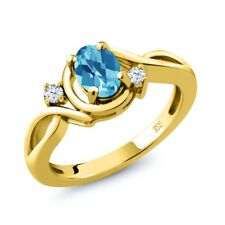 1.03 Ct Oval Checkerboard Swiss Blue Topaz White Topaz 18K Yellow Gold Ring