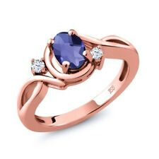 0.73 Ct Oval Checkerboard Blue Iolite White Topaz 14K Rose Gold Ring