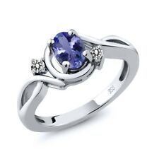 0.89 Ct Oval Blue Tanzanite AAA White Diamond 925 Sterling Silver Ring