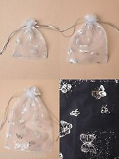 PACK OF WHITE ORGANZA BAGS WITH SILVER BUTTERFLY PRINT; GIFT, JEWELLERY, FAVOUR