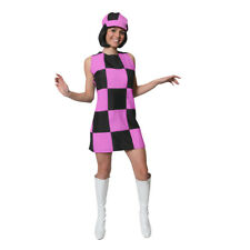 60'S PARTY GIRL MINI BLACK & PINK SQUARE LADIES FANCY DRESS + HAT COSTUME