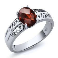 1.40 Ct Oval Checkerboard Red Garnet 925 Sterling Silver Ring