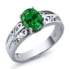2.10 Ct Oval Green Simulated Emerald 925 Sterling Silver Ring
