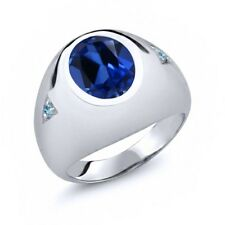 6.23 Ct Blue Simulated Sapphire Swiss Blue Simulated Topaz 925 Silver Men's Ring