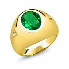 4.08 Ct Simulated Emerald White Topaz 18K Yellow Gold Plated Silver Men's Ring
