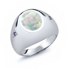 4.08 Ct Oval White Simulated Opal Purple Amethyst 18K White Gold Men's Ring