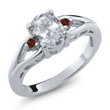 1.38 Ct Oval White Topaz Red Garnet 925 Sterling Silver Ring