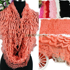 Fashion Women Beautiful Solid Color Hollow Out Soft Infinity Knit Wool Scarf New