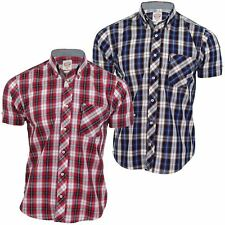 Mens Lambretta Shirt Tartan Check Button Down Collar Short Sleeves