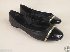New Faded Glory Women's Striped Toe Ballet Flat Black GOLD Size 8 Free Shipping