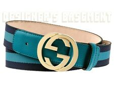 GUCCI teal & navy Ribbon teal Leather Interlocking G buckle belt NWT Authentic!