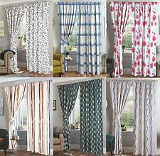 READY MADE FULLY LINED PAIR PENCIL PLEAT CURTAINS + MATCHING TIE BACKS