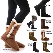 LADIES WOMENS BOOTS FULLY FUR LINED TOGGLE WINTER WARM COSY SHOES SIZE