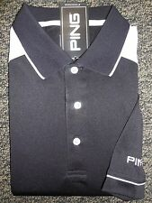 NEW MEN'S PING DEUCE PERFORMANCE Golf Polo Shirt, BLACK/WHITE, PICK A SIZE