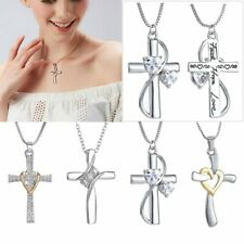 Women Men Crystal Cross Heart Pendant Necklace Chain Gift Silver Tone Jewelry