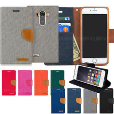 Canvas Diary Kickstand Flip Leather Wallet Case Cover For Galaxy iPhone LG