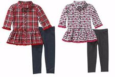 New Healthtex Baby Toddler Girl 4 PC Button Down Plaid Top & Leggings Outfit 3T