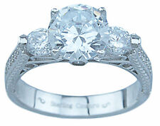 925 Sterling Silver 3.30Ct Antique Style Brilliant Cut CZ Engagement Ring 5 - 9
