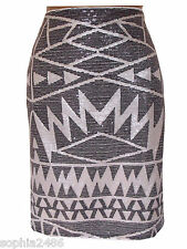 New C&A Sequin Skirt White Grey Aztec Print Size 8 10 14 BNWT Party Spring