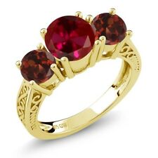 2.65 Ct Round Red Created Ruby Garnet 18K Yellow Gold Plated Silver 3-Stone Ring