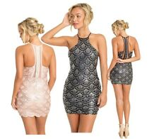 Unique Women Sequin Fish Scale Mesh Bodycon Mini Backless Clubwear Party Dress