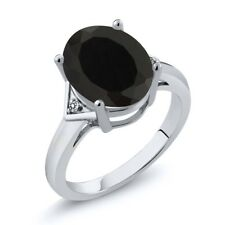 4.01 Ct Oval Black Onyx White Diamond 18K White Gold Ring