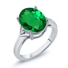 4.02 Ct Oval Green Simulated Emerald White Created Sapphire 18K White Gold Ring