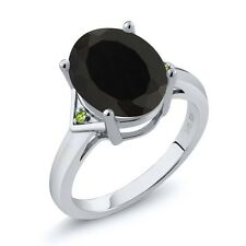 4.01 Ct Oval Black Onyx and Green Simulated Peridot 925 Sterling Silver Ring
