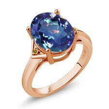 4.02 Ct Oval Blue Mystic Quartz and Yellow Simulated Citrine 18K Rose Gold Ring
