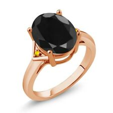 4.42 Ct Oval Black Sapphire Yellow Sapphire 18K Rose Gold Plated Silver Ring