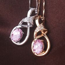 Wedding jewelry!sweet gift Oval pink sapphire 18k gold filled Pendant necklace