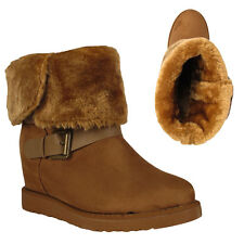 Women Three Buckle Fur Lined Warm Snow Wedge Ankle Boots Winter Shoes Size 3-8